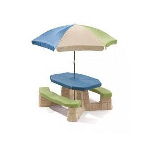 Table picnic avec parasol haut socle beige STEP2