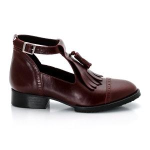 Sapatos estilo derbies em pele, tipo mocassins com presilha, lingueta e pompons JONAK