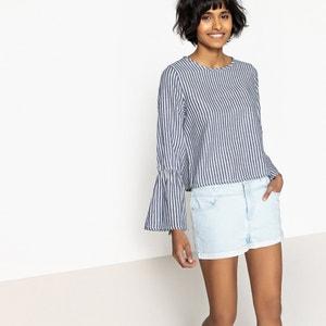 Gestreepte blouse met ronde hals en lange mouwen ONLY