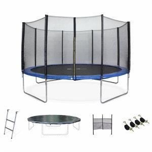 Trampoline de jardin Vénus XXL 430cm bleu avec filet de protection, échelle, bâche, filet chaussures, kit d'ancrage 430 cm 4m ALICE S GARDEN
