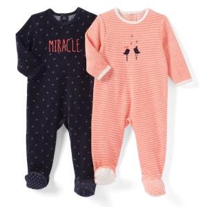 Lot de 2 pyjamas velours 0 mois - 3 ans La Redoute Collections