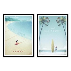 2 Affiches 30x40 cm California and Hawaii dream beaches WALL EDITIONS