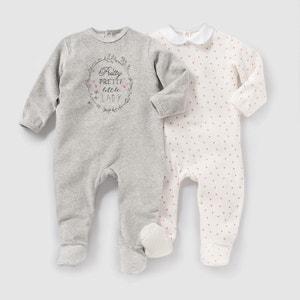 Confezione da 2 pigiama in velluto da 0 a 3 anni R mini