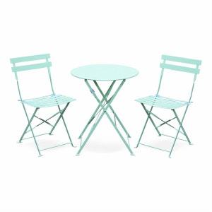 Salon de jardin bistrot pliable Emilia rond vert d'eau, table Ø60cm avec deux chaises pliantes, acier thermolaqué ALICE S GARDEN