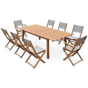 Salon de jardin en bois Almeria, grande table 180-240cm rectangulaire avec allon ALICE S GARDEN