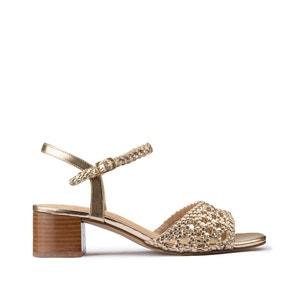 Gevlochten sandalen met brede hak