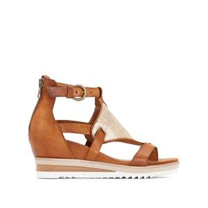 Skórzane sandały na koturnie Pampas MJUS