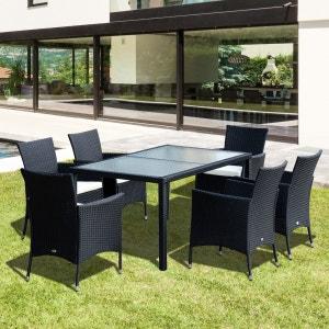 Ensemble salon de jardin 6 fauteuils avec coussins assise + table résine tressée 4 fils imitation rotin noir - OUTSUNNY OUTSUNNY