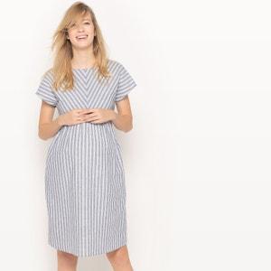 Robe de grossesse rayée, coton lin R essentiel