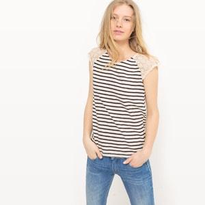T-shirt às riscas, mangas curtas, laço atrás LE TEMPS DES CERISES