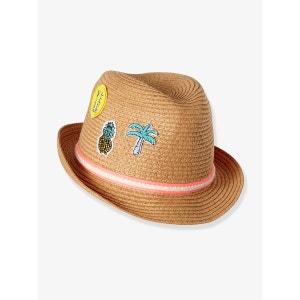 Chapeau enfant style panama avec patchs VERTBAUDET
