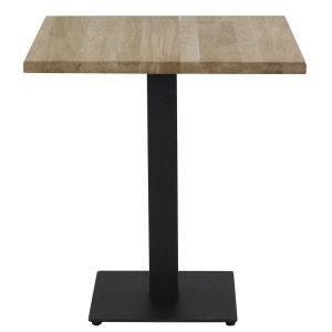 Table Bistrot Plateau Chêne Carré 70 X 70 Cm Piétement Métal Noir Carré Plat COULEURS DES ALPES
