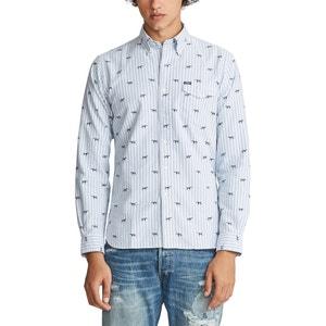 Recht hemd custom fit in gestreept oxford