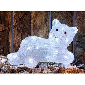 Superbe décoration de Noël ! - Chat lumineux acrylique coloré - 24 LED blanches - Intérieur et extérieur ! NONAME