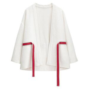 Chaqueta kimono larga, con corte amplio