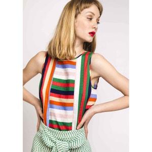 Gestreepte blouse met ronde hals zonder mouwen COMPANIA FANTASTICA
