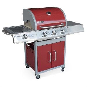 Barbecue au gaz Richelieu rouge, 4 brûleurs dont 1 feu latéral 14kW, côté grill ALICE S GARDEN