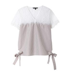 Bluse mit Spitze, seitlich zu binden, reine Baumwolle VERO MODA