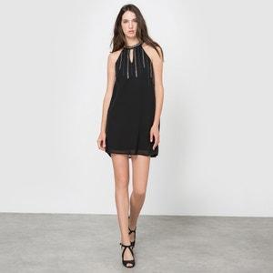 Beaded Dress with Cutaway Shoulders MOLLY BRACKEN