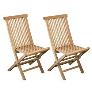 Lot de 2 chaises en teck Grade A BARCELONE CEMONJARDIN