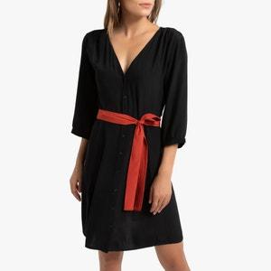 Wijd uitlopend jurk, striklint, opening achteraan
