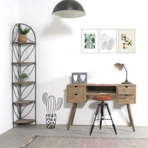 Bureau scandinave patine bois brossé 4 tiroirs 1 étagère  |  DN624 MADE IN MEUBLES