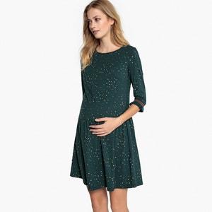 Bedrukte zwangerschapsjurk, mouwen aan de ellebogen