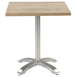 Table Bistrot Plateau Chêne Carré 70 X 70 Cm Piétement Inox Quadripode COULEURS DES ALPES