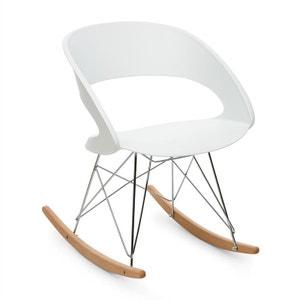 oneConcept Travolta Chaise à bascule rétro coque plastique dur & bois - blanc ONECONCEPT