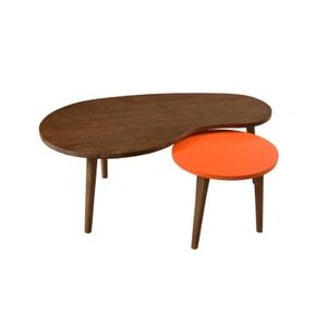 Tables gigognes cannelle Orange Vintage Bois 100cm LUCIEN PIER IMPORT