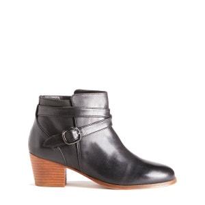 Boots à bride et boucle métal en cuir BOBBIES