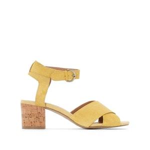 Sandale à talon liège, croûte de cuir CASTALUNA