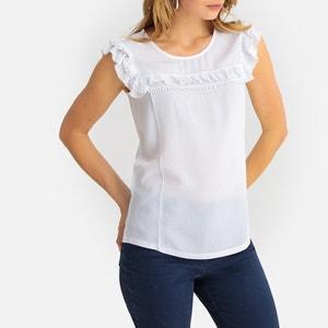 T-shirt met ronde hals en korte mouwen met volants