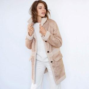 Manteau aspect peau lainée SOFT GREY