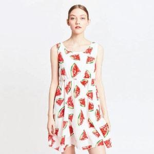 Sukienka rozszerzana, rozkloszowana, półdługa, z nadrukiem MIGLE+ME