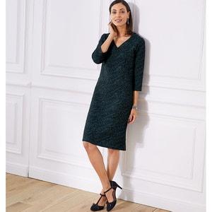 Rechte jurk in jacquard