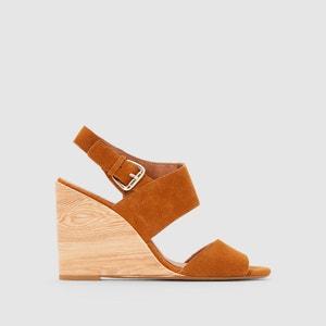 Sandales cuir talon compensé effet bois R studio