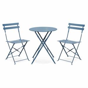 Salon de jardin bistrot pliable Emilia rond bleu grisé, table Ø60cm avec deux chaises pliantes, acier thermolaqué ALICE S GARDEN