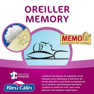 Oreiller mousse mémoire mémory 60x60 BLEU CALIN