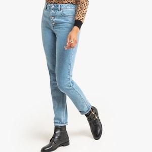 Mom slim jeans met hoge taille, knoopgulp