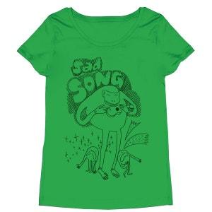 Tee-shirt femme en coton bio vert Sad Song MONSIEUR POULET
