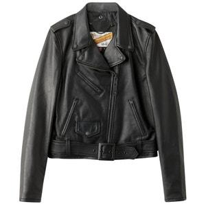 Куртка кожаная на молнии и со съемным поясом SCHOTT