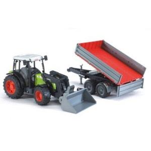 BRUDER Le tracteur Claas Nectis 267 F avec chargeur frontal et remorque à ridelles véhicule BRUDER