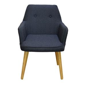 Fauteuil inspiration scandinave tissu gris pieds bois 59x67x82cm OSLO PIER IMPORT
