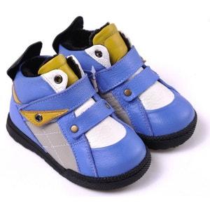 Chaussures semelle souple    Montantes fourrées bleu et jaune CAROCH