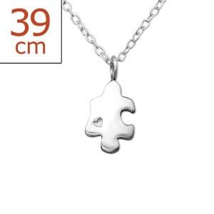 Collier Chaîne Longueur 45 cm Pièce Puzzle Coeur Argent 925 SO CHIC BIJOUX