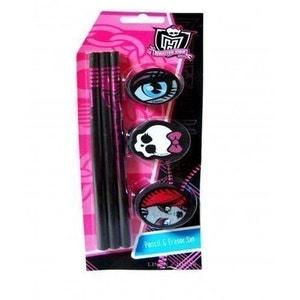 Pack de 3 crayons à papier + 3 gommes Monster High MONSTER HIGH