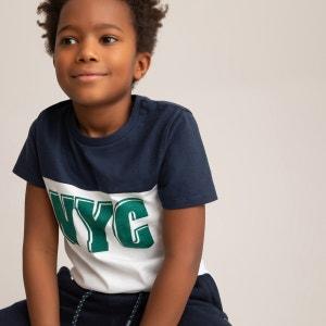 Camiseta de algodón orgánico con cuello redondo estampado 3-14 años