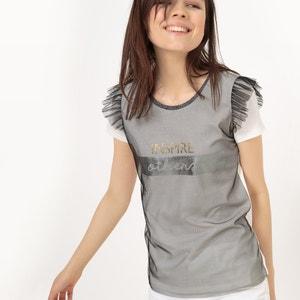 T-shirt com escapulário em malha de rede e folhos R édition