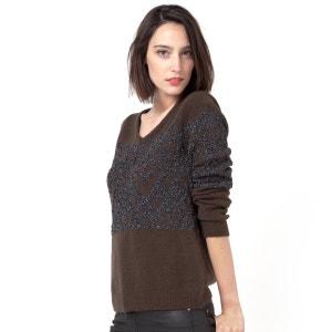 Pullover, V-Ausschnitt, metallisiertes Effektgarn VILA